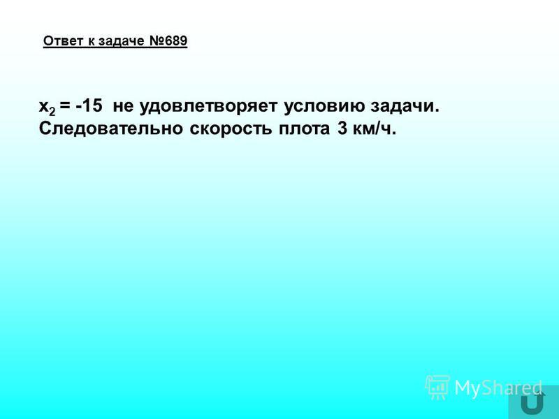 Решение уравнения к задаче 689 (Умножим обе части уравнения на общий знаменатель трех дробей: 3x(x+12)) (Сократим дроби) (Упростим) 2 корня, (Поделим на 16),