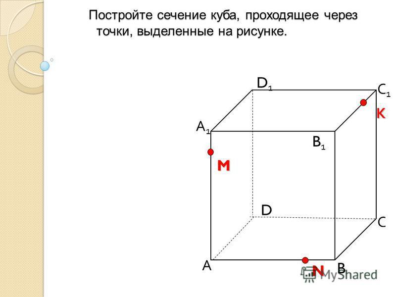 Постройте сечение куба, проходящее через точки, выделенные на рисунке. Постройте сечение куба, проходящее через точки, выделенные на рисунке. А B С D D1D1 С1С1 B1B1 N M А1А1 К