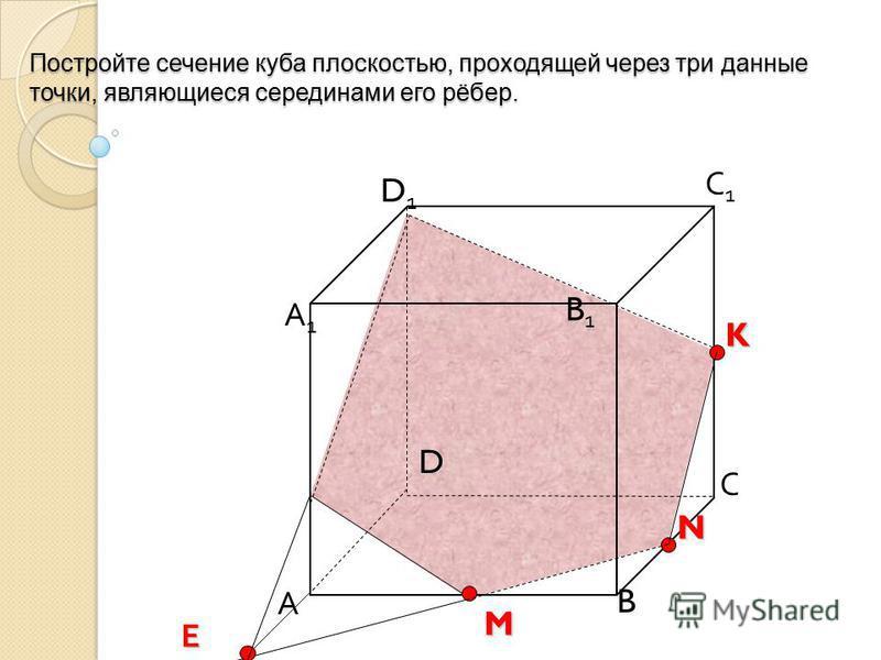 Постройте сечение куба плоскостью, проходящей через три данные точки, являющиеся серединами его рёбер. А B С D D1D1 С1С1 B1B1 А1А1K N M Е