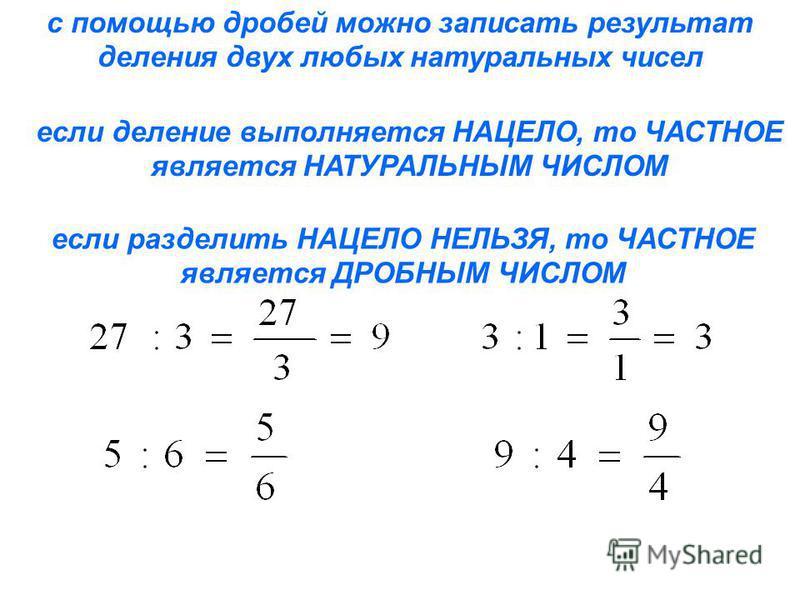 с помощью дробей можно записать результат деления двух любых натуральных чисел если деление выполняется НАЦЕЛО, то ЧАСТНОЕ является НАТУРАЛЬНЫМ ЧИСЛОМ если разделить НАЦЕЛО НЕЛЬЗЯ, то ЧАСТНОЕ является ДРОБНЫМ ЧИСЛОМ