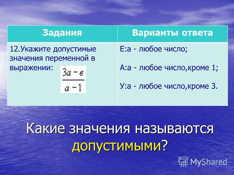 Какие значения называются допустимыми? Задания Варианты ответа 12. Укажите допустимые значения переменной в выражении: Е:а - любое число; А:а - любое число,кроме 1; У:а - любое число,кроме 3.