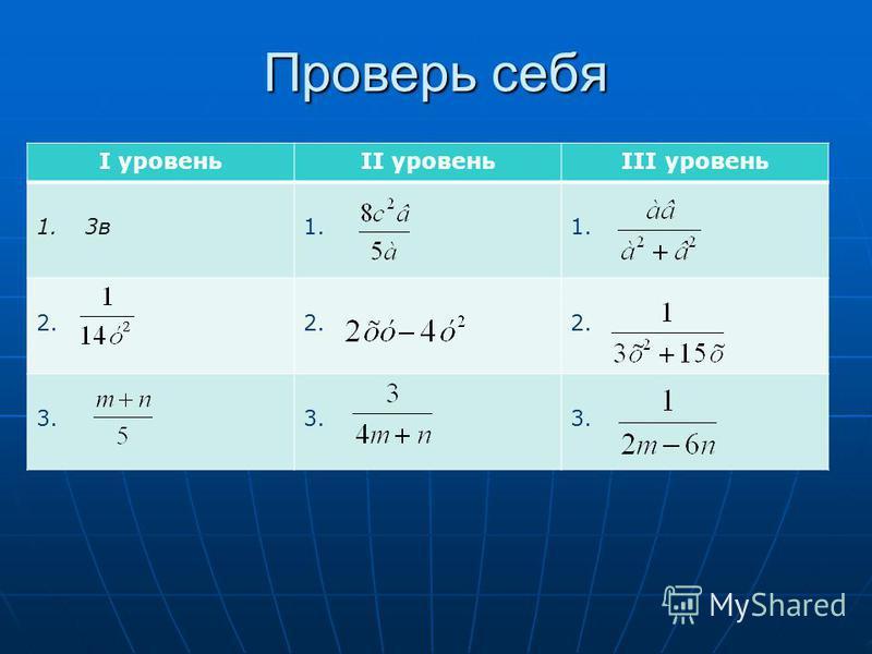 Проверь себя I уровеньII уровеньIII уровень 1. 3 в 1. 2. 2. 3.