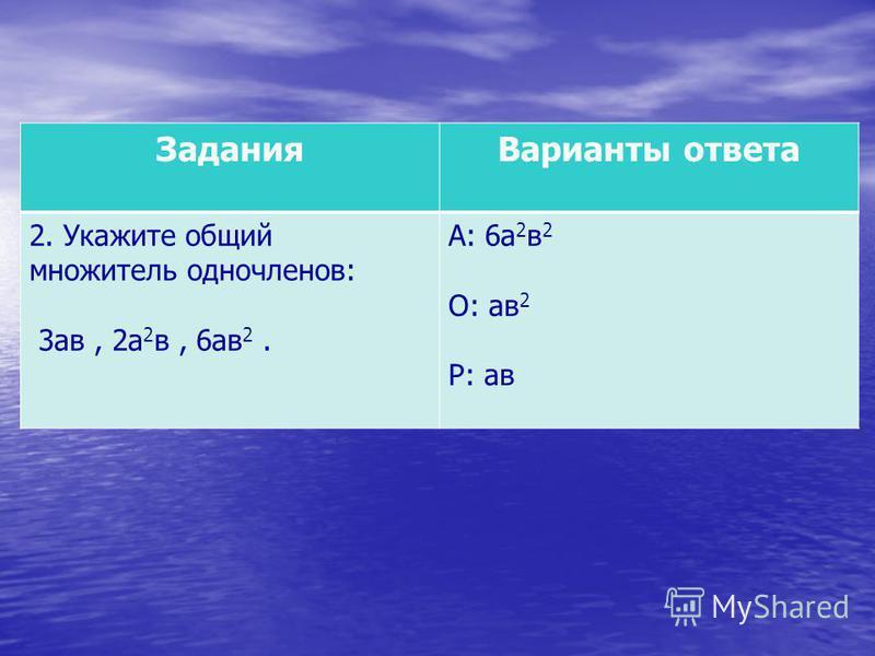 Задания Варианты ответа 2. Укажите общий множитель одночленов: 3 ав, 2 а 2 в, 6 ав 2. А: 6 а 2 в 2 О: ав 2 Р: ав