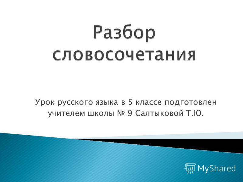 Урок русского языка в 5 классе подготовлен учителем школы 9 Салтыковой Т.Ю.