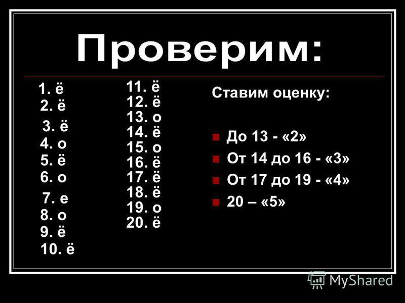 1. ё 2. ё 3. ё 4. о 5. ё 6. о 7. е 8. о 9. ё 10. ё Ставим оценку: До 13 - «2» От 14 до 16 - «3» От 17 до 19 - «4» 20 – «5» 11. ё 12. ё 13. о 14. ё 15. о 16. ё 17. ё 18. ё 19. о 20. ё