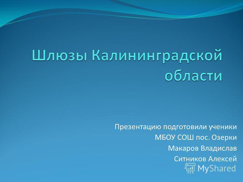 Презентацию подготовили ученики МБОУ СОШ пос. Озерки Макаров Владислав Ситников Алексей