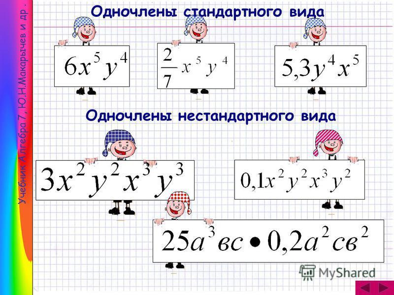 Учебник Алгебра 7, Ю.Н.Макарычев и др. Одночлены стандартного вида Одночлены нестандартного вида