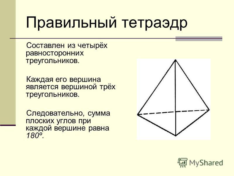 Платоновы тела Платоновы тела - трехмерный аналог плоских правильных многоугольников. Однако между двумерным и трехмерным случаями есть важное отличие: существует бесконечно много различных правильных многоугольников, но лишь пять различных правильны