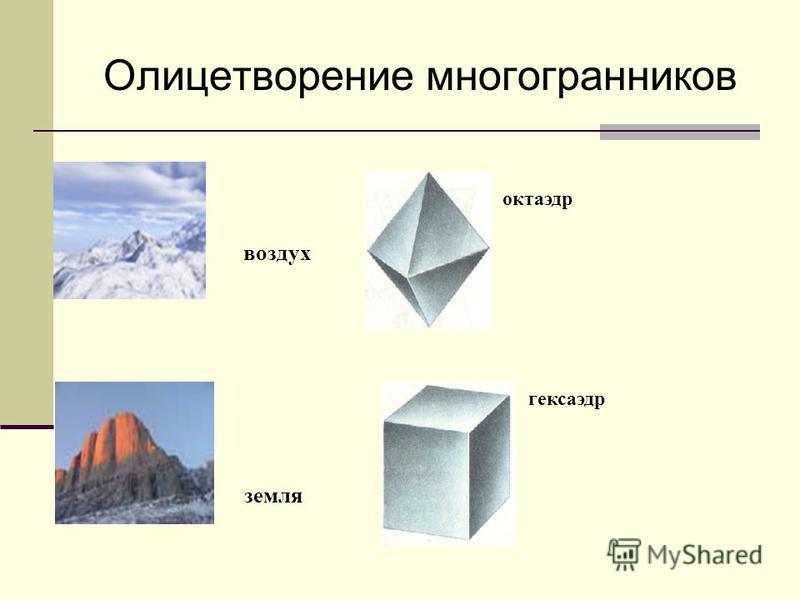 Олицетворение многогранников огонь тетраэдр икосаэдр вода