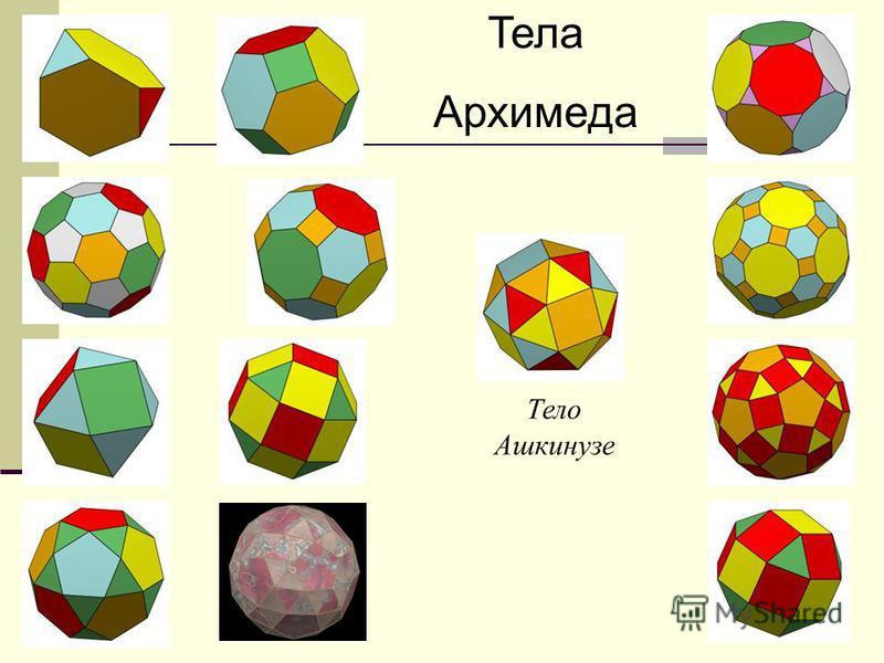 Множество Архимедовых тел Наконец существуют две так называемые «курносые» модификации одна для куба, другая для додекаэдра. Для каждой из них характерно несколько повёрнутое положение граней, что даёт возможность построить два различных варианта одн
