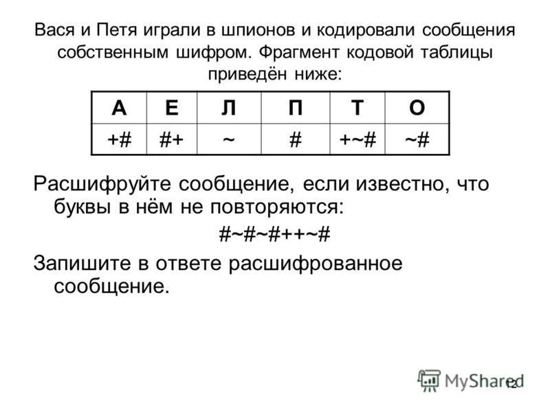 12 Вася и Петя играли в шпионов и кодировали сообщения собственным шифром. Фрагмент кодовой таблицы приведён ниже: Расшифруйте сообщение, если известно, что буквы в нём не повторяются: #~#~#++~# Запишите в ответе расшифрованное сообщение. АЕЛПТО +##+