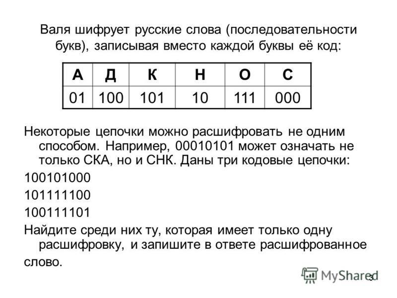 3 Валя шифрует русские слова (последовательности букв), записывая вместо каждой буквы её код: Некоторые цепочки можно расшифровать не одним способом. Например, 00010101 может означать не только СКА, но и СНК. Даны три кодовые цепочки: 100101000 10111