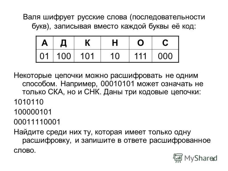 4 Валя шифрует русские слова (последовательности букв), записывая вместо каждой буквы её код: Некоторые цепочки можно расшифровать не одним способом. Например, 00010101 может означать не только СКА, но и СНК. Даны три кодовые цепочки: 1010110 1000001