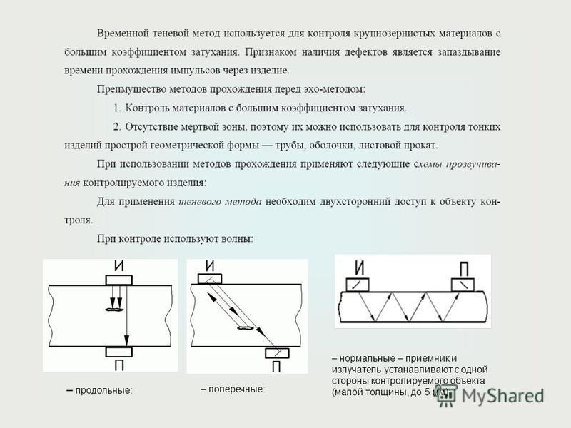 – продольные: – поперечные: – нормальные – приемник и излучатель устанавливают с одной стороны контролируемого объекта (малой толщины, до 5 мм):