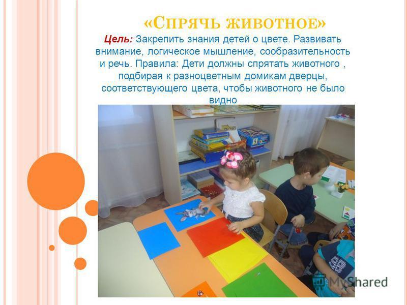 «С ПРЯЧЬ ЖИВОТНОЕ » Цель: Закрепить знания детей о цвете. Развивать внимание, логическое мышление, сообразительность и речь. Правила: Дети должны спрятать животного, подбирая к разноцветным домикам дверцы, соответствующего цвета, чтобы животного не б