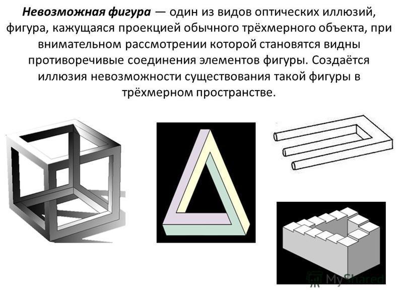 Невозможная фигура один из видов оптических иллюзий, фигура, кажущаяся проекцией обычного трёхмерного объекта, при внимательном рассмотрении которой становятся видны противоречивые соединения элементов фигуры. Создаётся иллюзия невозможности существо