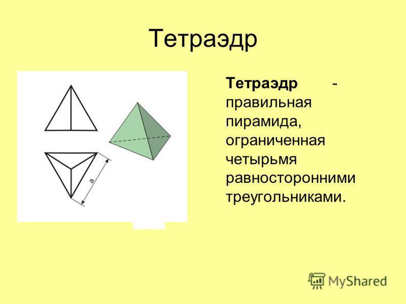 Тетраэдр Тетраэдр- правильная пирамида, ограниченная четырьмя равносторонними треугольниками.