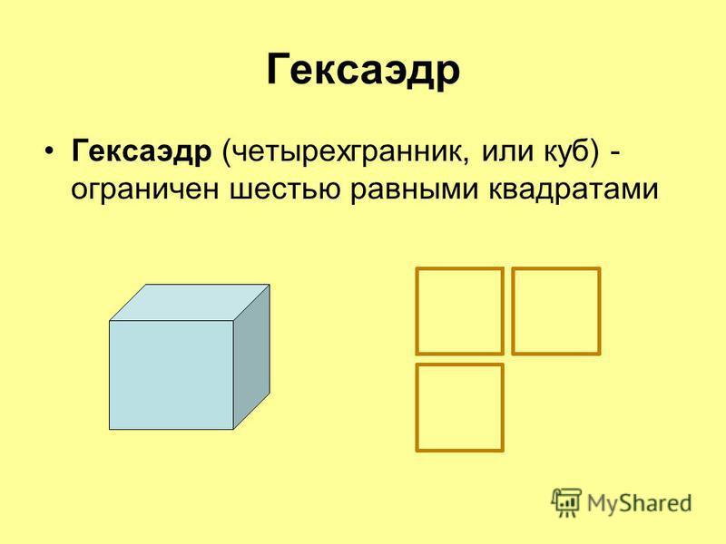 Гексаэдр Гексаэдр (четырехгранник, или куб) - ограничен шестью равными квадратами