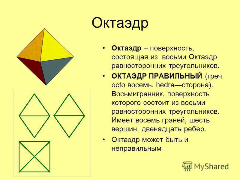 Октаэдр Октаэдр – поверхность, состоящая из восьми Октаэдр равносторонних треугольников. ОКТАЭДР ПРАВИЛЬНЫЙ (греч. octo восемь, hedraсторона). Восьмигранник, поверхность которого состоит из восьми равносторонних треугольников. Имеет восемь граней, ше