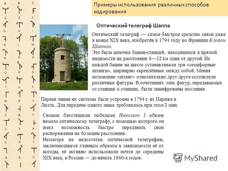 Оптический телеграф самое быстрое средство связи даже в конце XIX века, изобретён в 1794 году во Франции Клодом Шаппом. Это была цепочка башен-станций, находящихся в прямой видимости на расстоянии 812 км одна от другой. На каждой башне на шесте устан