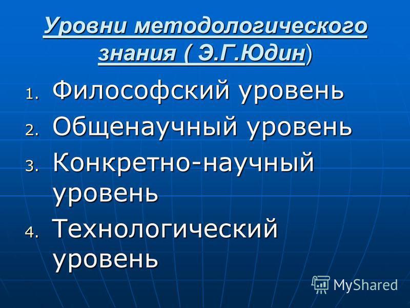 Уровни методологического знания ( Э.Г.Юдин) 1. Философский уровень 2. Общенаучный уровень 3. Конкретно-научный уровень 4. Технологический уровень