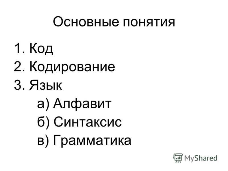 Основные понятия 1. Код 2. Кодирование 3. Язык а) Алфавит б) Синтаксис в) Грамматика