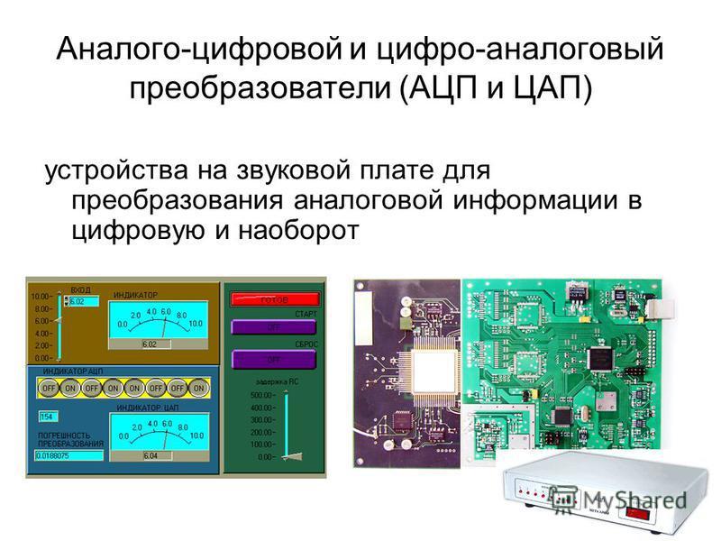 Аналого-цифровой и цифро-аналоговый преобразователи (АЦП и ЦАП) устройства на звуковой плате для преобразования аналоговой информации в цифровую и наоборот