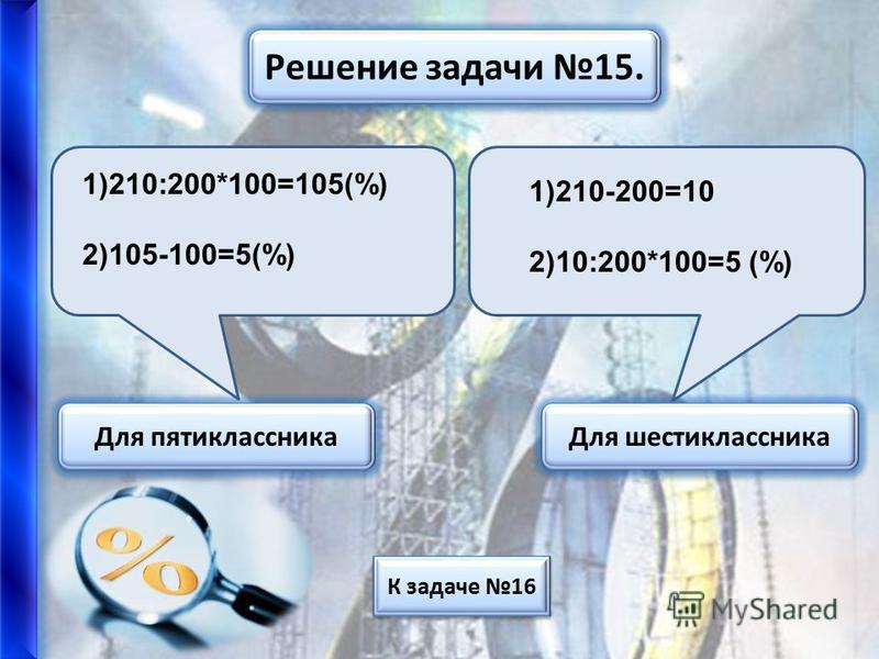Решение задачи 9. Для пятиклассника Для шестиклассника 1)100-25=75(% составл.750 р. ) 2)750:0,75=1000 (р. старая цена) К задаче 10 1)100-25=75(% составл.750 р. ) 2)750:75*100=1000 р.