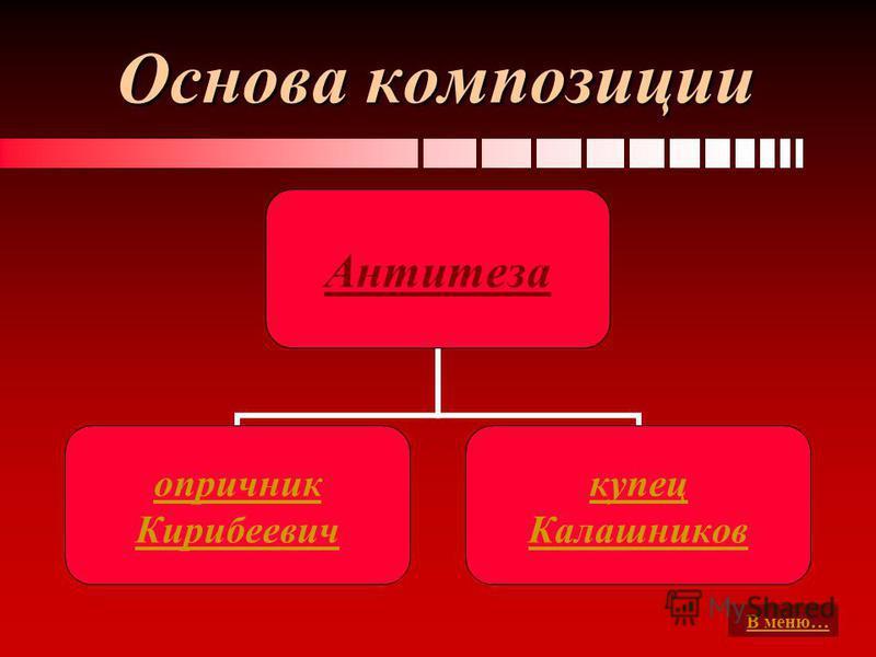 Основа композиции Антитеза опричник Кирибеевич купец Калашников В меню…