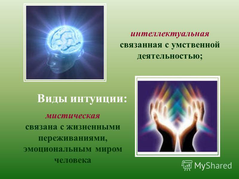 Виды интуиции: интеллектуальная связанная с умственной деятельностью; мистическая связана с жизненными переживаниями, эмоциональным миром человека