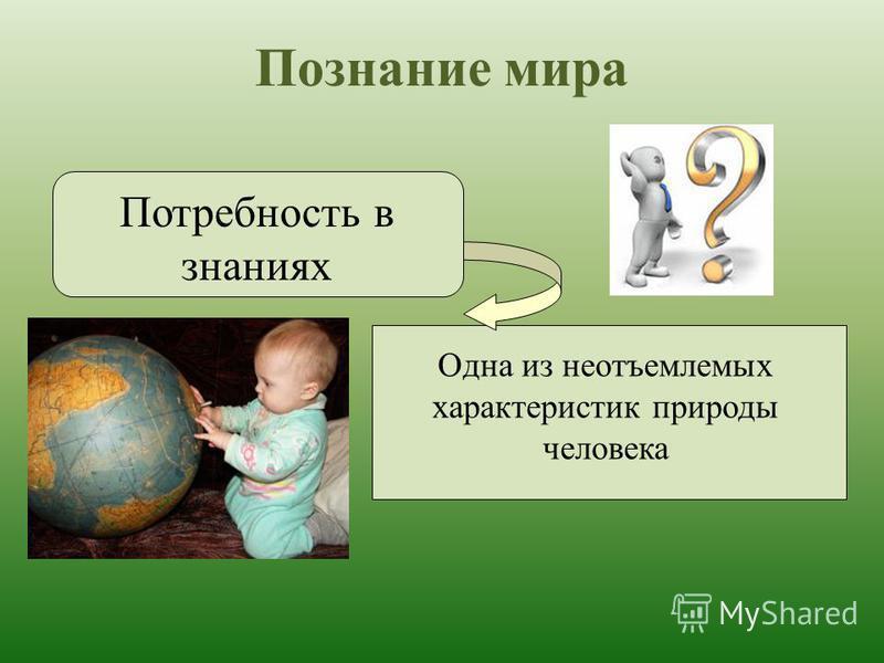 Познание мира Потребность в знаниях Одна из неотъемлемых характеристик природы человека