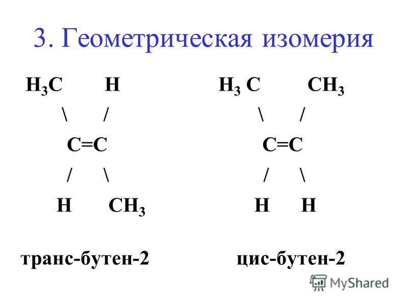 3. Геометрическая изомерия H 3 C H H 3 C CH 3 \ / \ / С=C С=C / \ / \ H CH 3 H H трансс-бутен-2 цис-бутен-2
