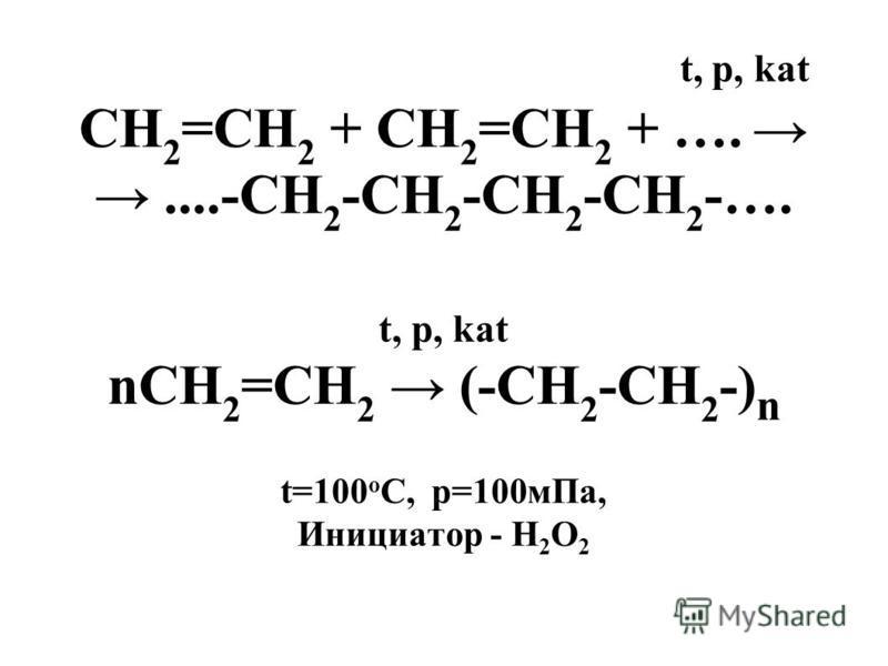 t, p, kat СН 2 =СН 2 + СН 2 =СН 2 + ….....-СН 2 -СН 2 -СН 2 -СН 2 -…. t, p, kat nСН 2 =СН 2 (-СН 2 -СН 2 -) n t=100 o C, p=100 м Па, Инициатор - Н 2 О 2