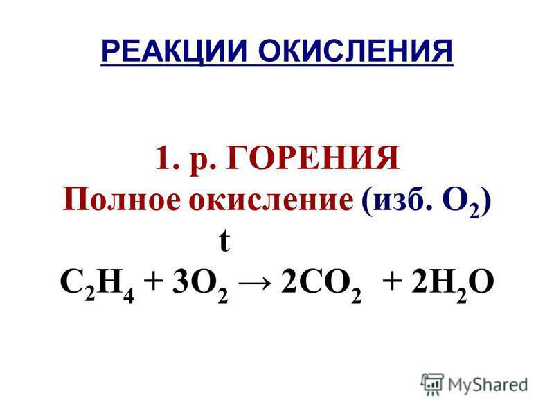 РЕАКЦИИ ОКИСЛЕНИЯ 1. р. ГОРЕНИЯ Полное окисление (изб. О 2 ) t С 2 Н 4 + 3О 2 2СО 2 + 2Н 2 О