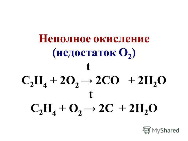 Неполное окисление (недостаток О 2 ) t С 2 Н 4 + 2О 2 2СО + 2Н 2 О t С 2 Н 4 + О 2 2С + 2Н 2 О