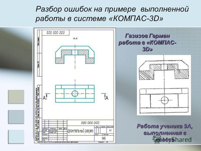 Разбор ошибок на примере выполненной работы в системе «КОМПАС-3D» Газизов Герман работа в «КОМПАС- 3D» Работа ученика 9А, выполненная в классе