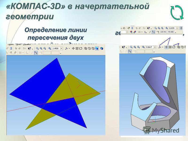 «КОМПАС-3D» в начертательной геометрии Пересечение геометрических тел, сечение их плоскостью Определение линии пересечения двух плоскостей и видимости
