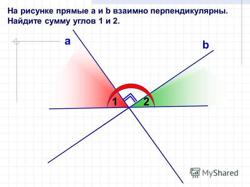 На рисунке прямые а и b взаимно перпендикулярны. Найдите сумму углов 1 и 2. а b 12