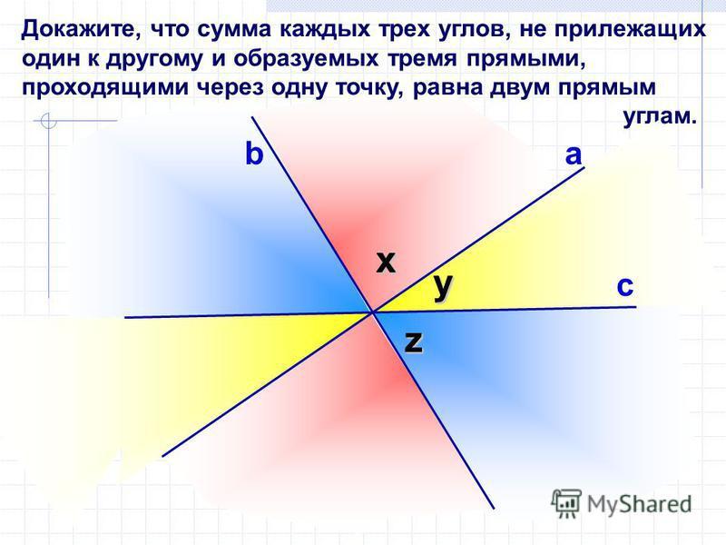 Докажите, что сумма каждых трех углов, не прилежащих один к другому и образуемых тремя прямыми, проходящими через одну точку, равна двум прямым углам. b с у у х z а х z