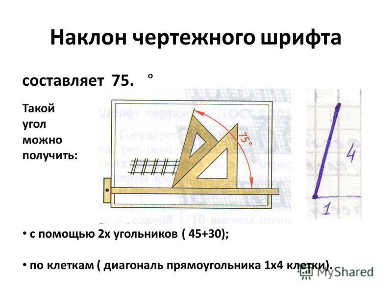 Наклон чертежного шрифта составляет 75. о Такой угол можно получить: с помощью 2 х угольников ( 45+30); по клеткам ( диагональ прямоугольника 1 х 4 клетки).