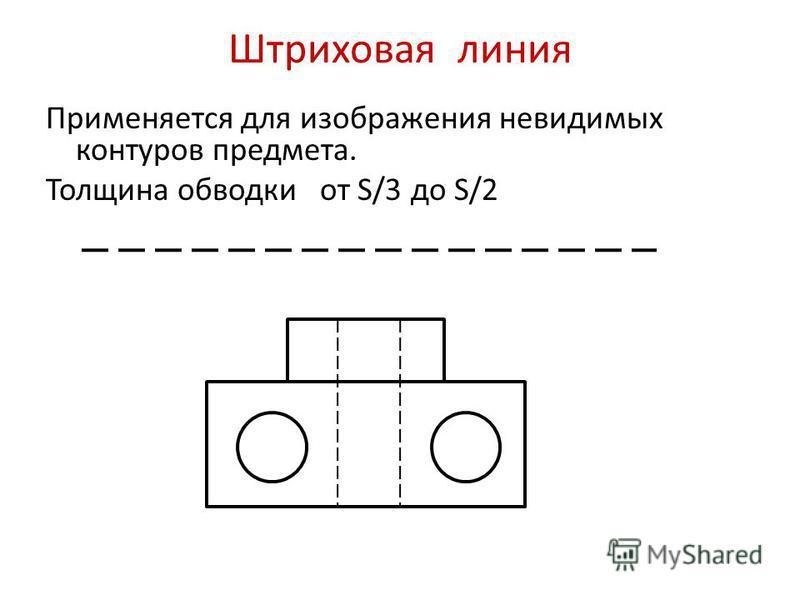 Штриховая линия Применяется для изображения невидимых контуров предмета. Толщина обводки от S/3 до S/2
