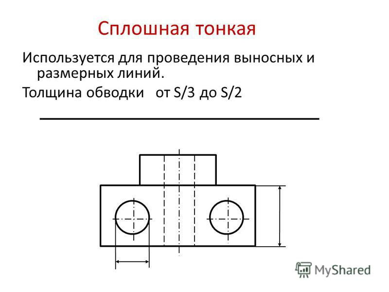 Сплошная тонкая Используется для проведения выносных и размерных линий. Толщина обводки от S/3 до S/2