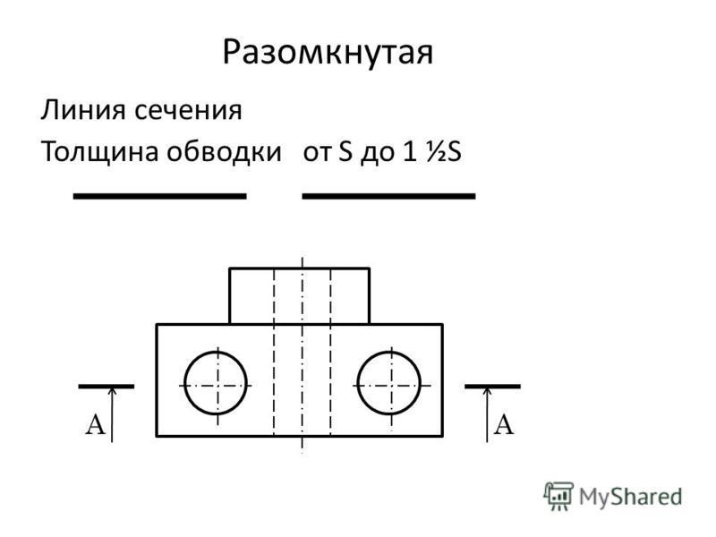 Разомкнутая Линия сечения Толщина обводки от S до 1 ½S АА