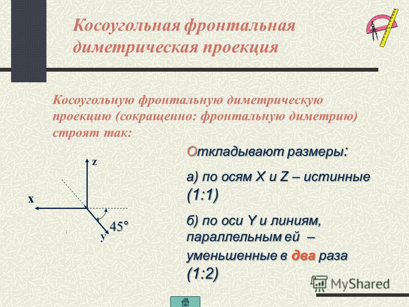 Проецирование плоских фигур Прямоугольник – это проекции параллелепипеда и цилиндр, призмы. Треугольник – это проекция трехгранных пирамиды и призмы. Многоугольник – это проекция многогранных тел Квадрат – это проекция граней куба Окружность – это пр