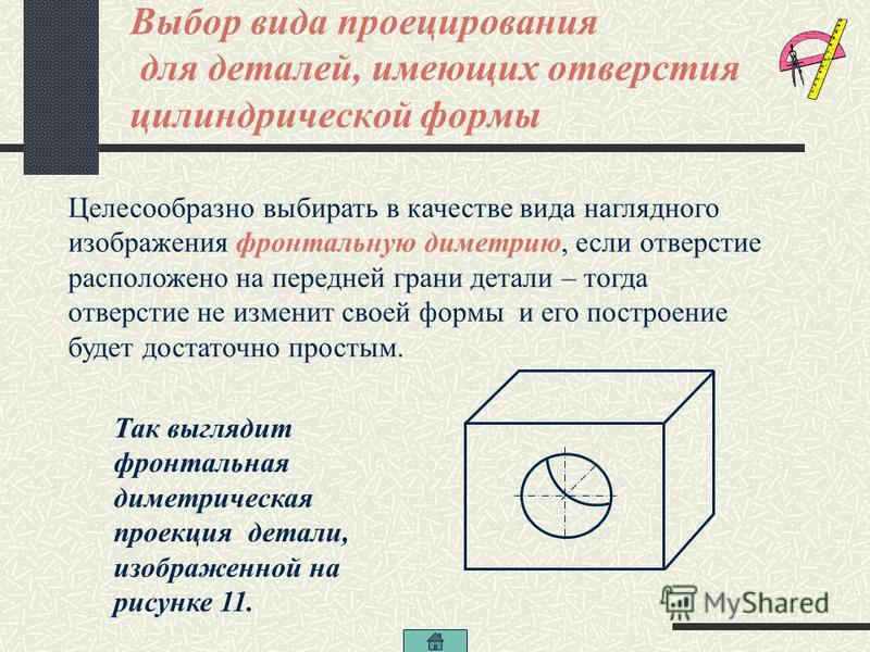 Особенности построения проекций деталей, имеющих отверстия цилиндрической формы Если деталь имеет отверстия в форме вырезанных цилиндров, то построение их аксонометрических проекций несколько усложняется. Важным моментом при этом является выбор вида
