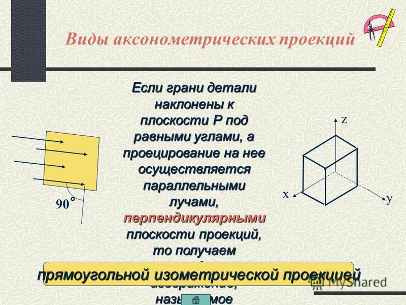 Виды аксонометрических проекций косоугольную фронтальную диметрическую проекцию Если проецирующие параллельные лучи направлены к плоскости направлены к плоскости проекций Р под углом, меньшим 90°, под углом, меньшим 90°, а предмет повернут к нам пере