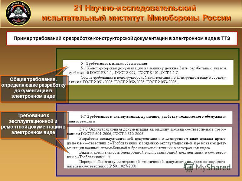 21 Научно-исследовательский испытательный институт Минобороны России 21 Научно-исследовательский испытательный институт Минобороны России Пример требований к разработке конструкторской документации в электронном виде в ТТЗ Общие требования, определяю
