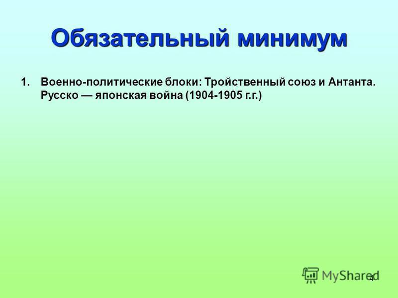 4 Обязательный минимум 1.Военно-политические блоки: Тройственный союз и Антанта. Русско японская война (1904-1905 г.г.)