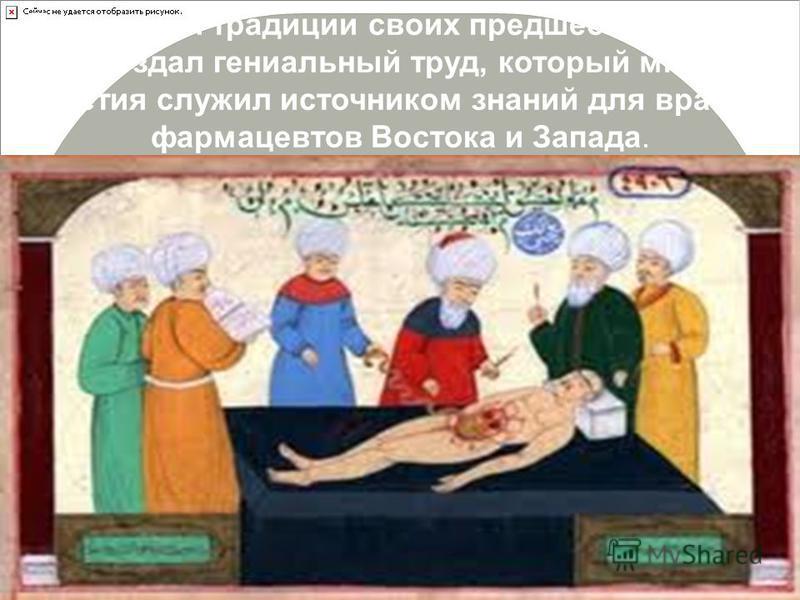 Продолжая традиции своих предшественников, он создал гениальный труд, который многие столетия служил источником знаний для врачей и фармацевтов Востока и Запада.