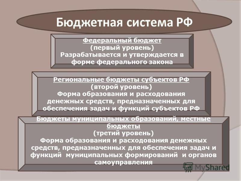 Федеральный бюджет (первый уровень) Разрабатывается и утверждается в форме федерального закона Региональные бюджеты субъектов РФ (второй уровень) Форма образования и расходования денежных средств, предназначенных для обеспечения задач и функций субъе